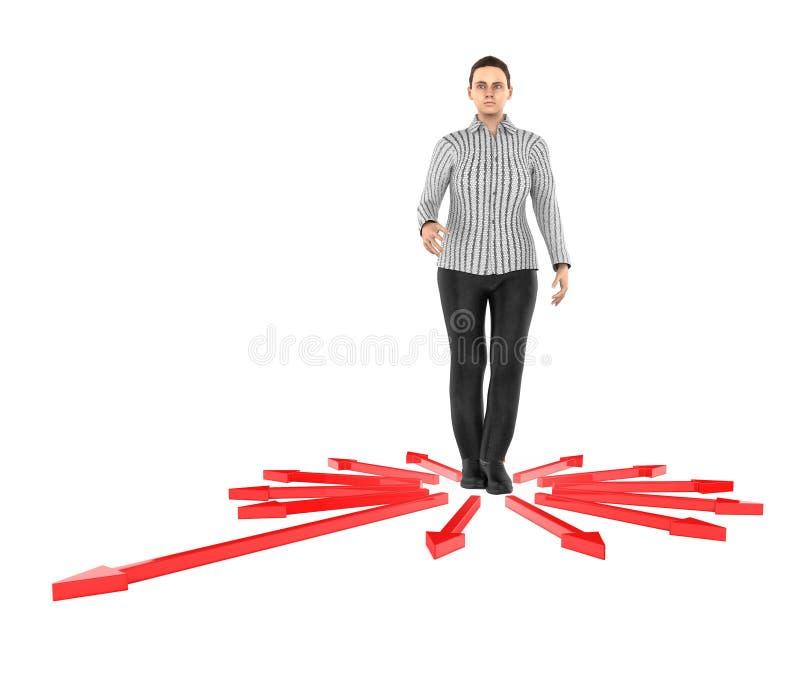 3d karakter, verwarde vrouw, doubtfull terwijl status in centrum die van pijlen naar verschillende richting richten vector illustratie