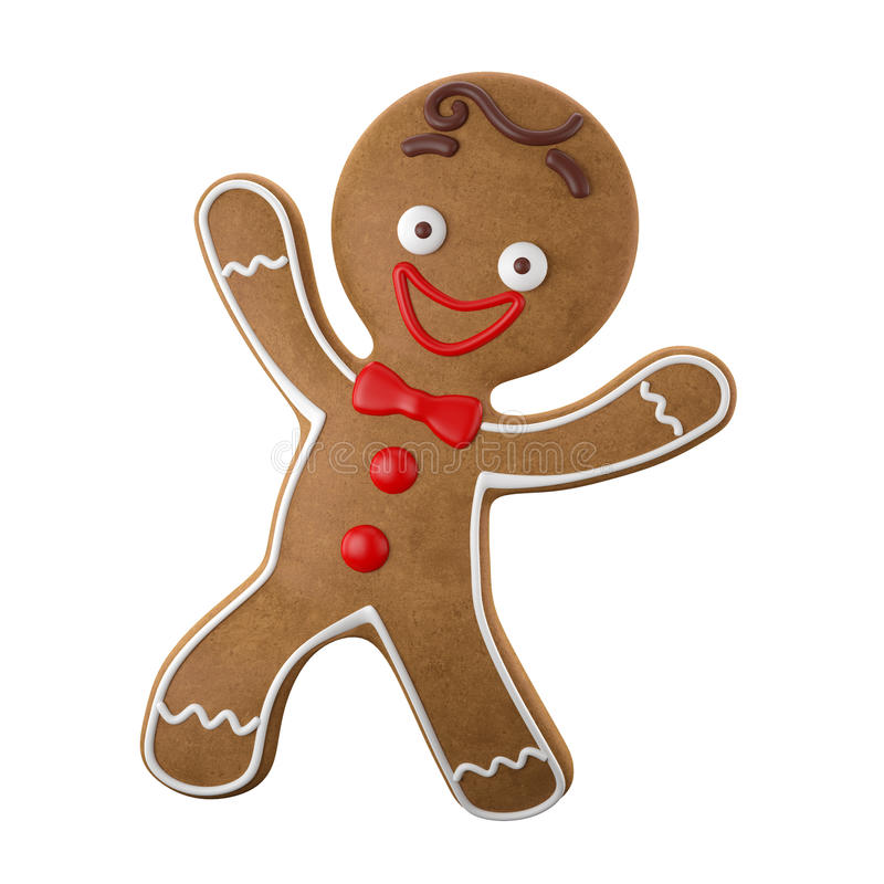 3d karakter, vrolijke peperkoek, Kerstmis grappige decoratie, royalty-vrije illustratie
