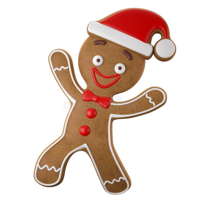 3d karakter, vrolijke peperkoek, Kerstmis grappige decoratie, stock illustratie