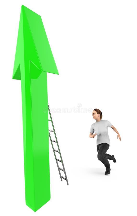 3d karakter, vrouw die gaan op een pijl beklimmen die een ladder gebruiken stock illustratie