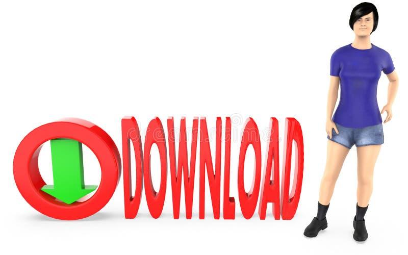 3d karakter, vrouw die zich dichtbij aan een tekst bevinden - download neer met royalty-vrije illustratie