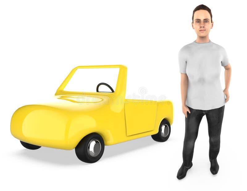 3d karakter, vrouw, en een auto stock illustratie