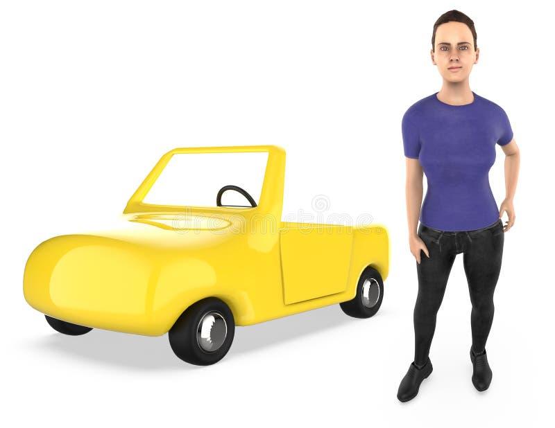 3d karakter, vrouw, en een auto royalty-vrije illustratie