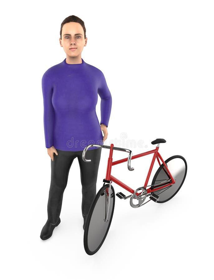 3d karakter, vrouw en een cyclus stock illustratie