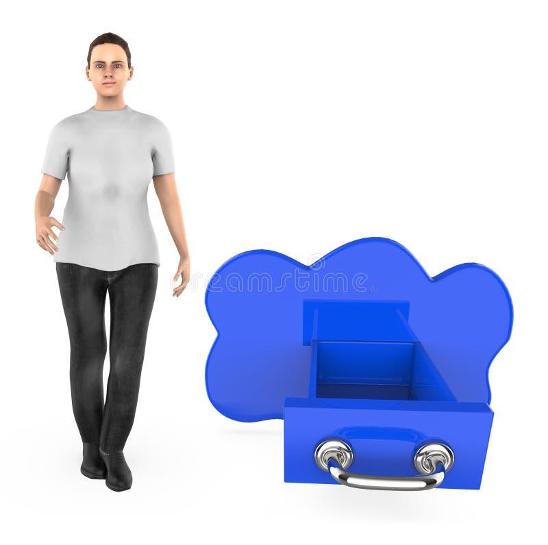 3d karakter, vrouw en wolk gestalte gegeven lade stock illustratie