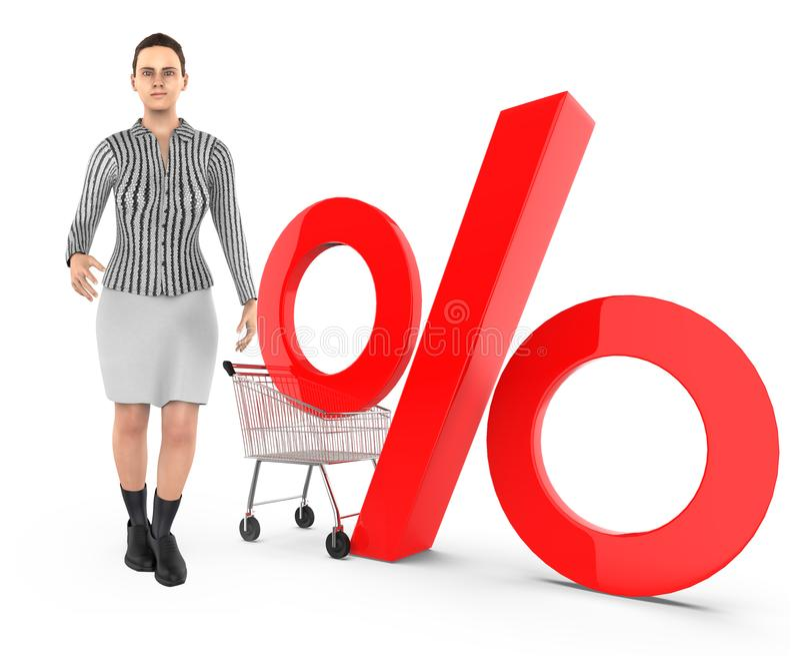 3d karakter, vrouw, karretje en percentageteken vector illustratie