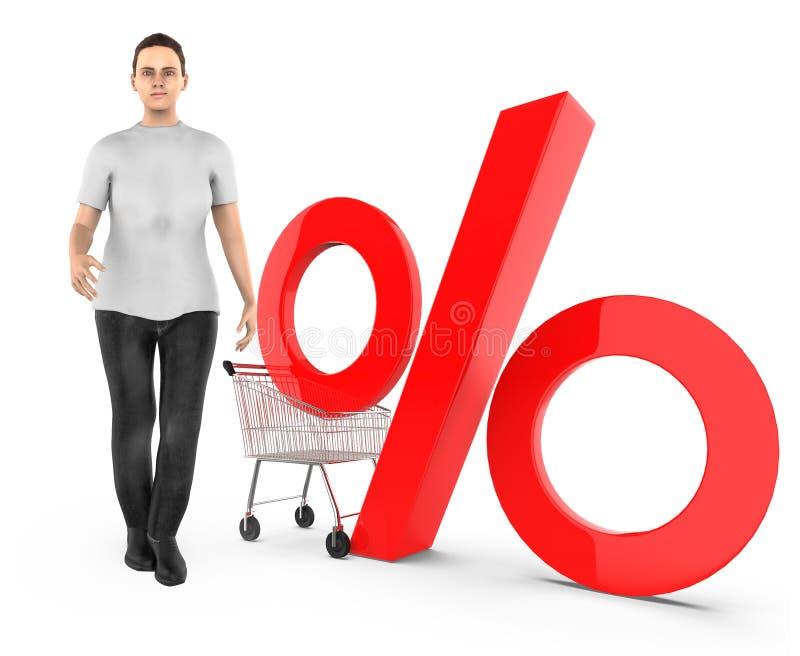 3d karakter, vrouw, karretje en percentageteken stock illustratie