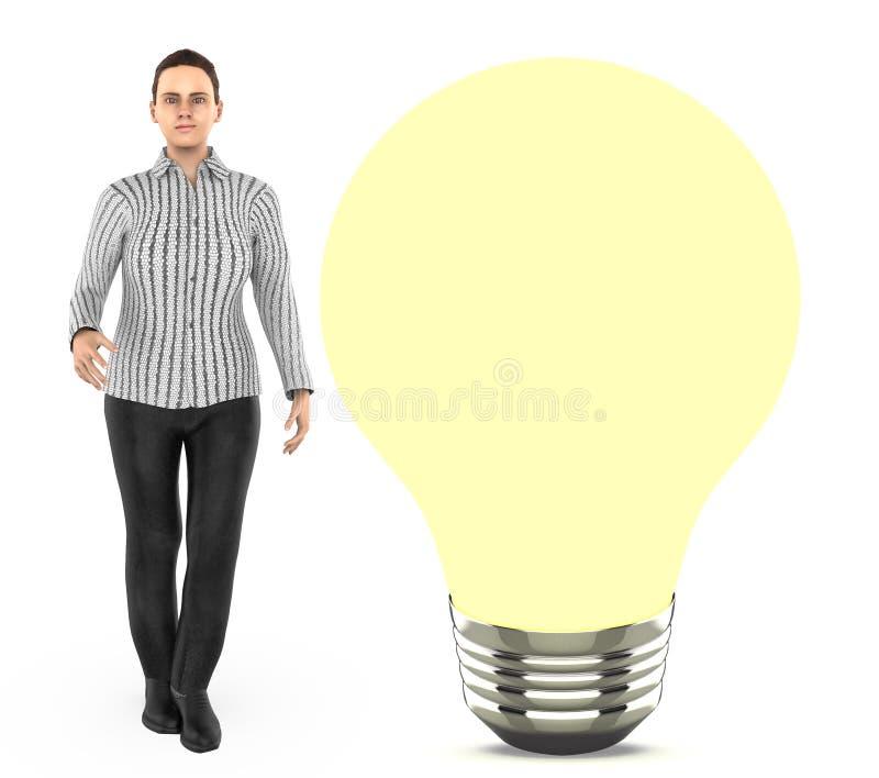 3d karakter, vrouw status dichtbij aan a iluminated bol vector illustratie