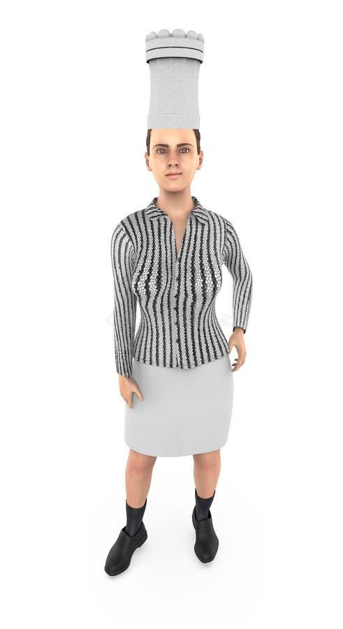 3d karakter, vrouwenchef-kok royalty-vrije illustratie