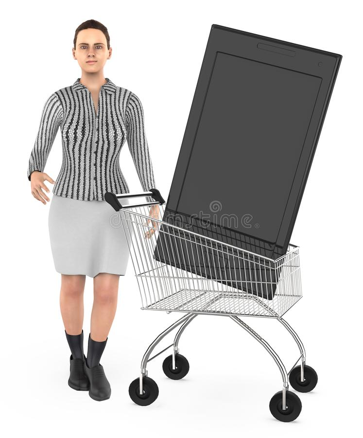 3d karakter, vrouwenkar met een smartphone royalty-vrije illustratie
