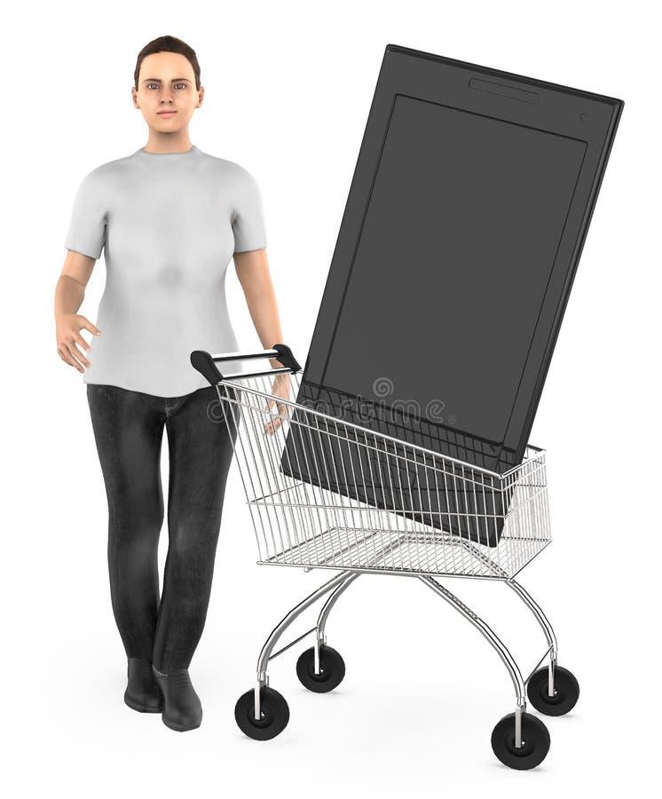 3d karakter, vrouwenkar met een smartphone stock illustratie