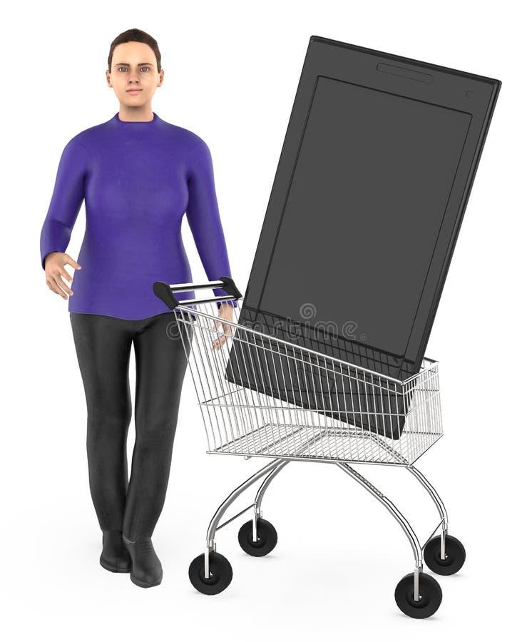 3d karakter, vrouwenkar met een smartphone vector illustratie