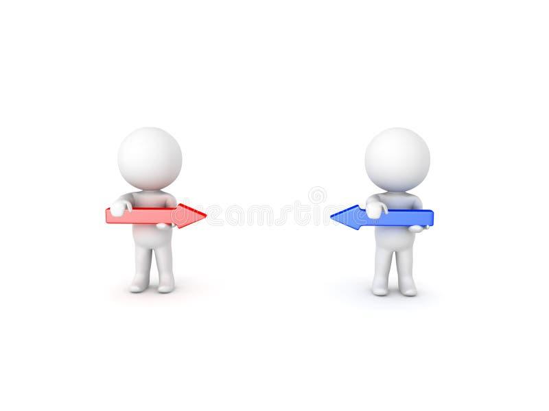 3D Karakters die rode en blauwe pijlen tegengesteld aan elkaar houden stock illustratie