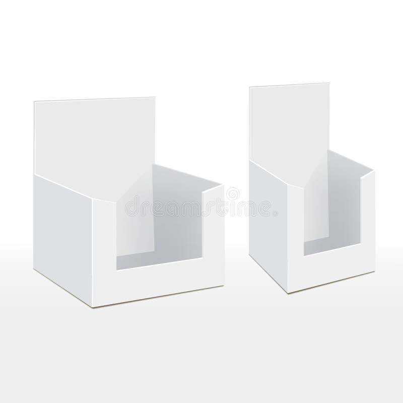 3D Karton Lege Lege Vertoning toont Vakje Houder voor de Reclame van Vliegers, Pamfletten, Producten vector illustratie