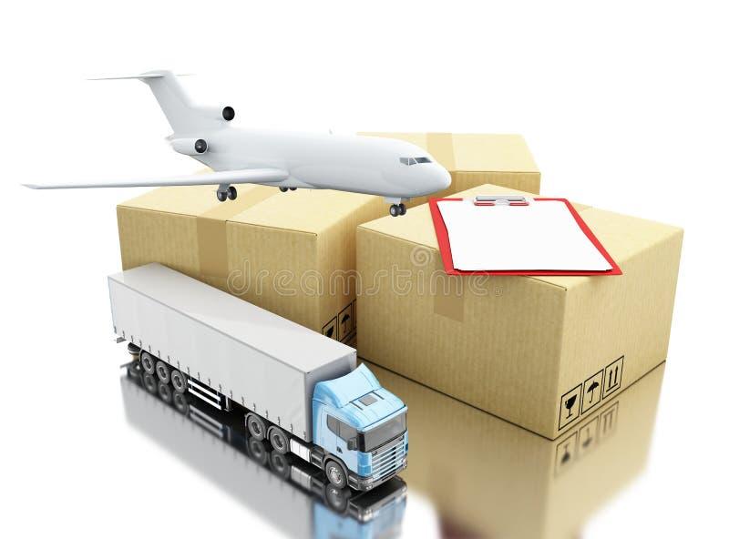3d Kartonvakjes met cheklijst, vliegtuig en vrachtwagen vector illustratie