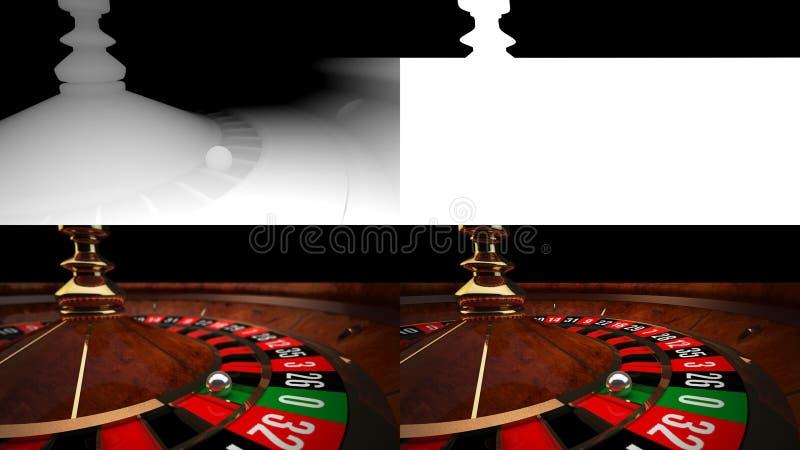 3D Kasynowa ruleta z Alfa kanałem i głębią obraz royalty free