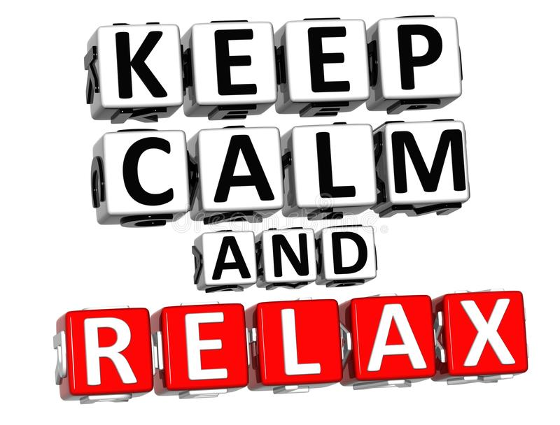 3D Keep Calm And Relax Button Click Here Block Text vector illustration