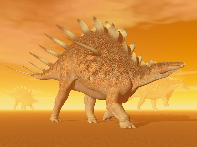 3D Kentrosaurusdinosaurus - geef terug stock illustratie