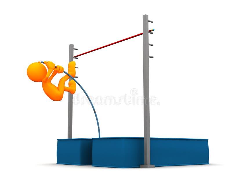 3d Kerel: De aanvang van het Polsstokspringen vector illustratie