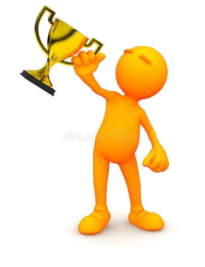 3d Kerel: De Gouden Trofee van de mensenholding vector illustratie
