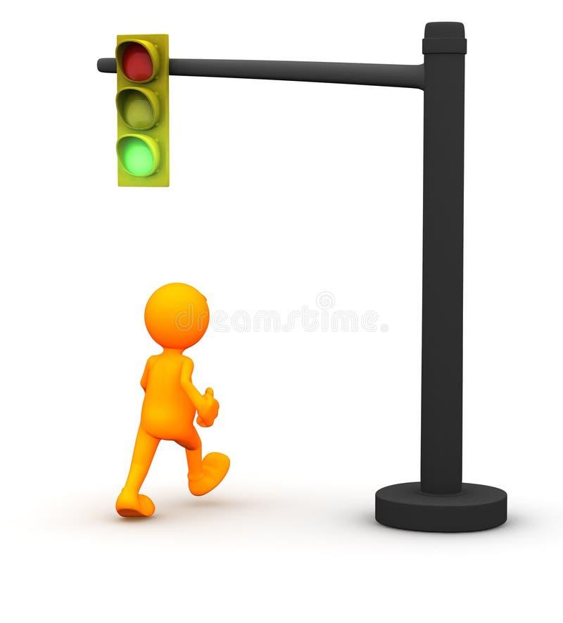 3d Kerel: De mens krijgt Groen Licht royalty-vrije illustratie