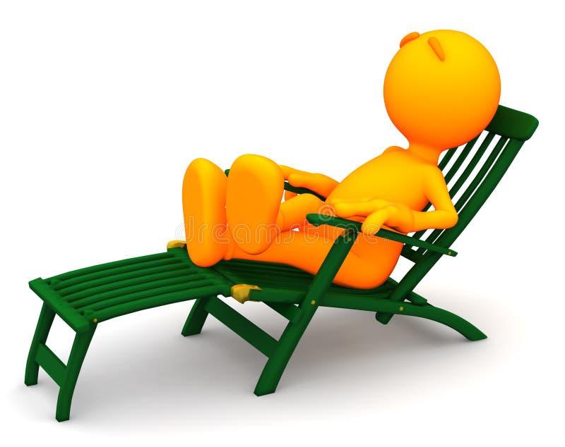 3d Kerel: De mens ontspant in Ligstoel royalty-vrije illustratie