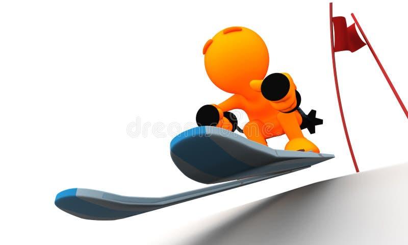 3d Kerel: De winterslalom Skiier vector illustratie