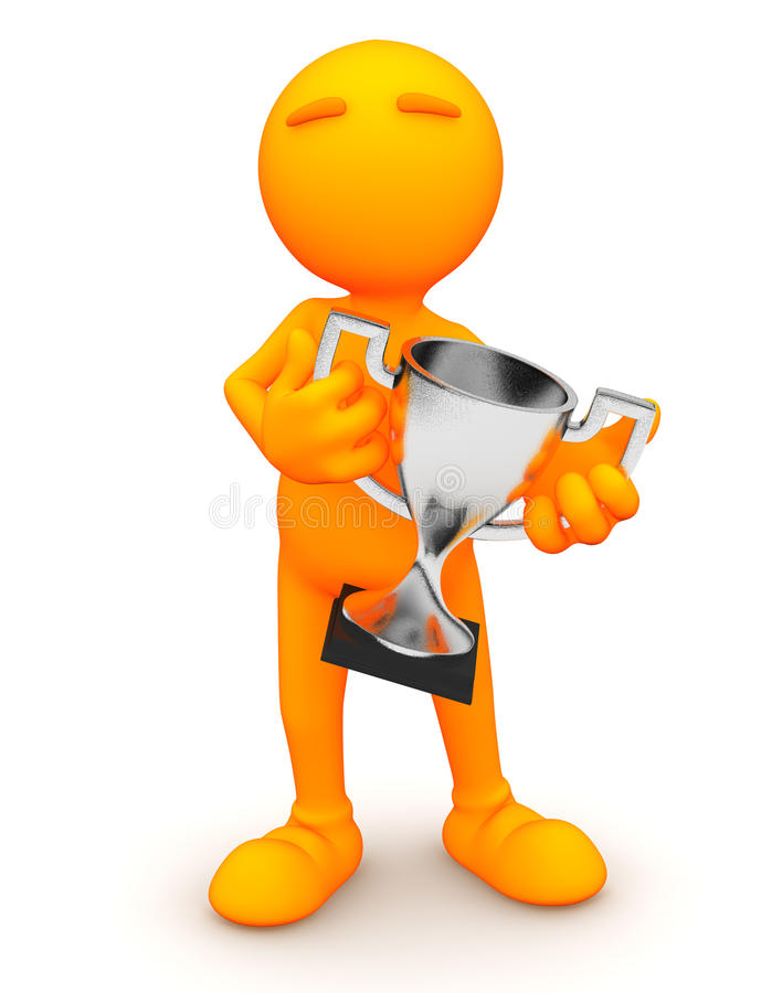 3d Kerel: De Zilveren Trofee van de mensenholding royalty-vrije illustratie