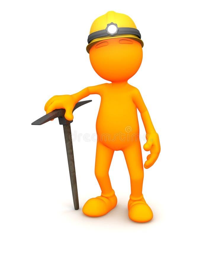 3d Kerel: Dragend de Hoed van de Mijnwerker en Dragend Oogstbijl vector illustratie