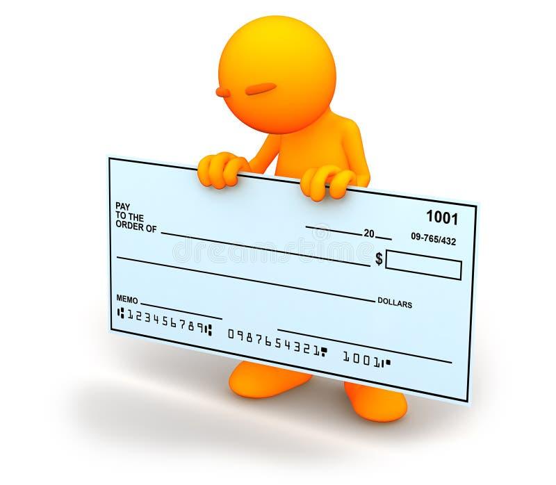 3d Kerel: Het bekijken neer Blanco cheque vector illustratie