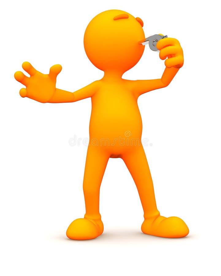 3d Kerel: Het blazen van een Fluitje stock illustratie