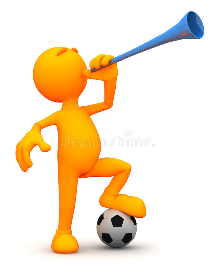 3d Kerel: Het blazen van een Vuvuzela stock illustratie