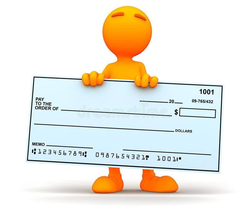 3d Kerel: Het houden van een Reuzeblanco cheque vector illustratie