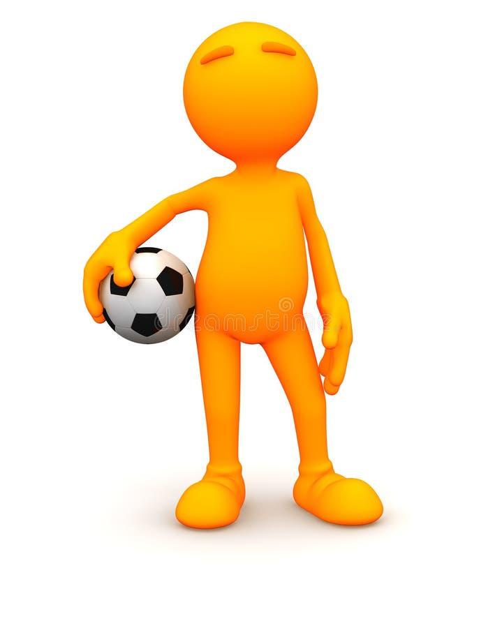 3d Kerel: Het houden van een Voetbalbal vector illustratie
