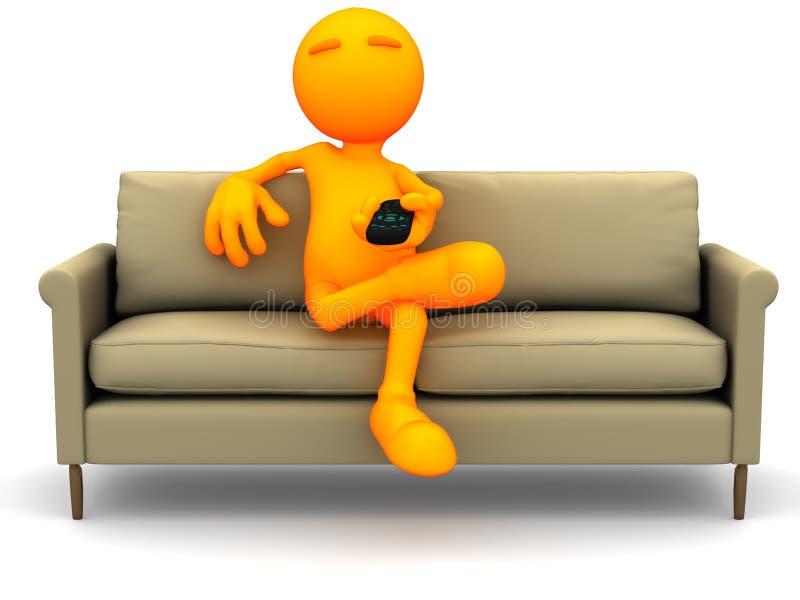 3d Kerel: Het letten op TV met een Afstandsbediening royalty-vrije illustratie