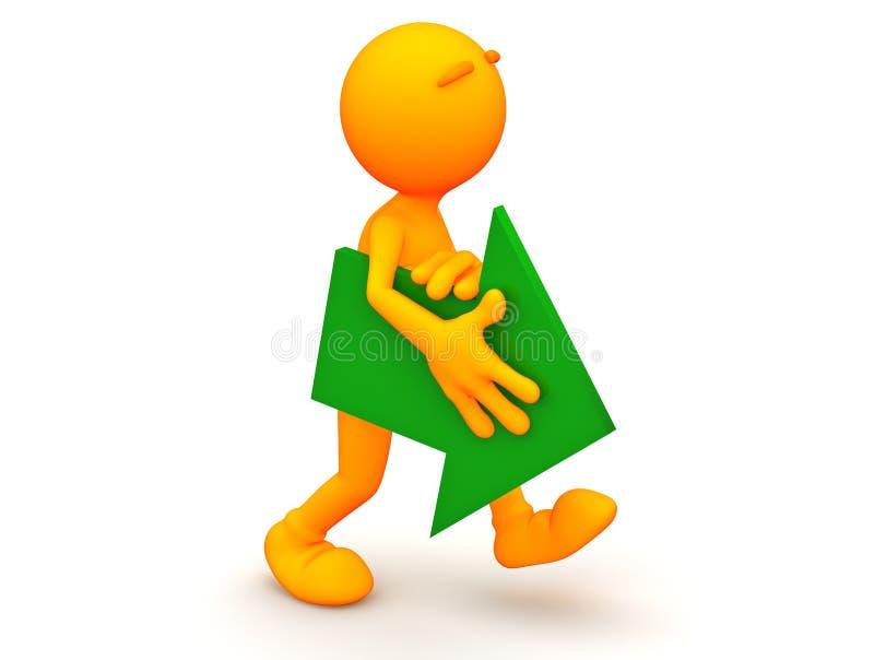3d Kerel: Het lopen met een Groene Pijl royalty-vrije illustratie