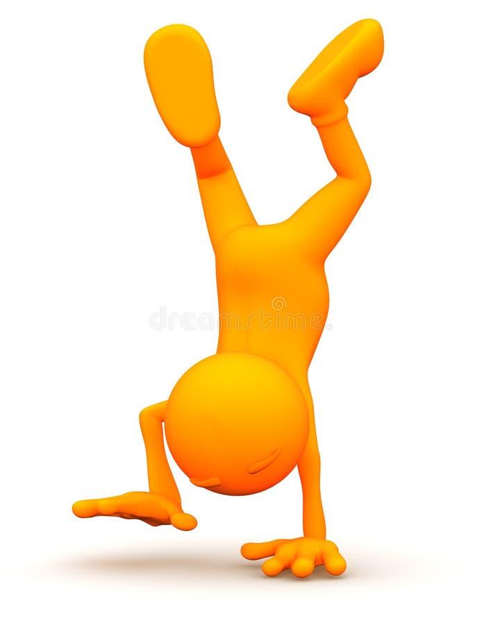 3d Kerel: Het lopen op Uw Handen stock illustratie