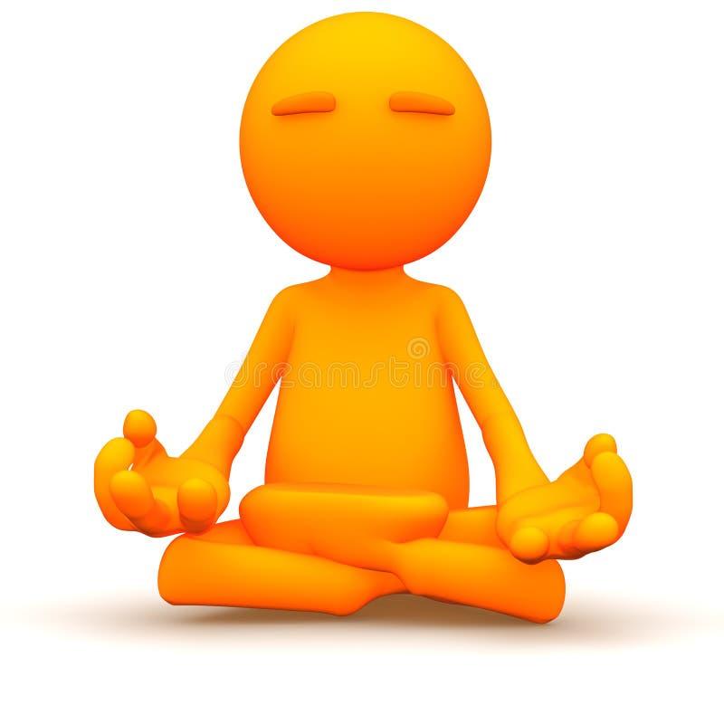 3d Kerel: Het mediteren met Yoga royalty-vrije illustratie