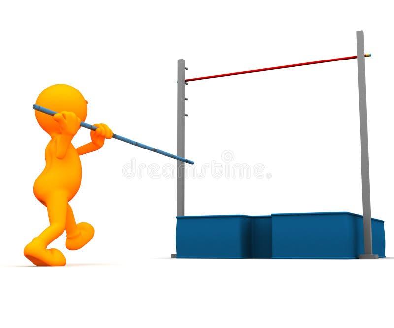 3d Kerel: Het proberen van het Polsstokspringen royalty-vrije illustratie