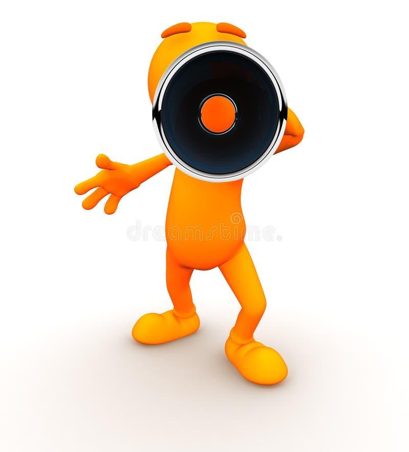 3d Kerel: Het schreeuwen bij Camera met een Megafoon vector illustratie