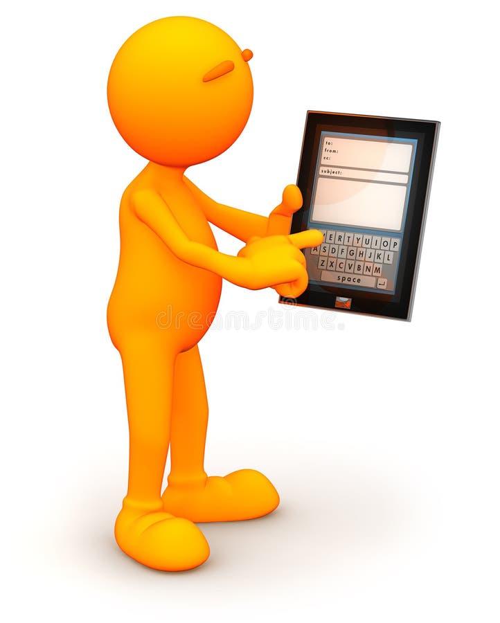 3d Kerel: Het schrijven van een E-mail op Tabletcomputer royalty-vrije illustratie