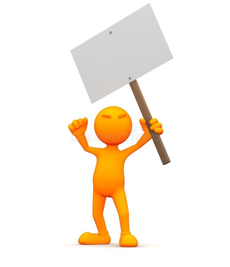 3d Kerel: Het steunen van een Leeg Teken stock illustratie