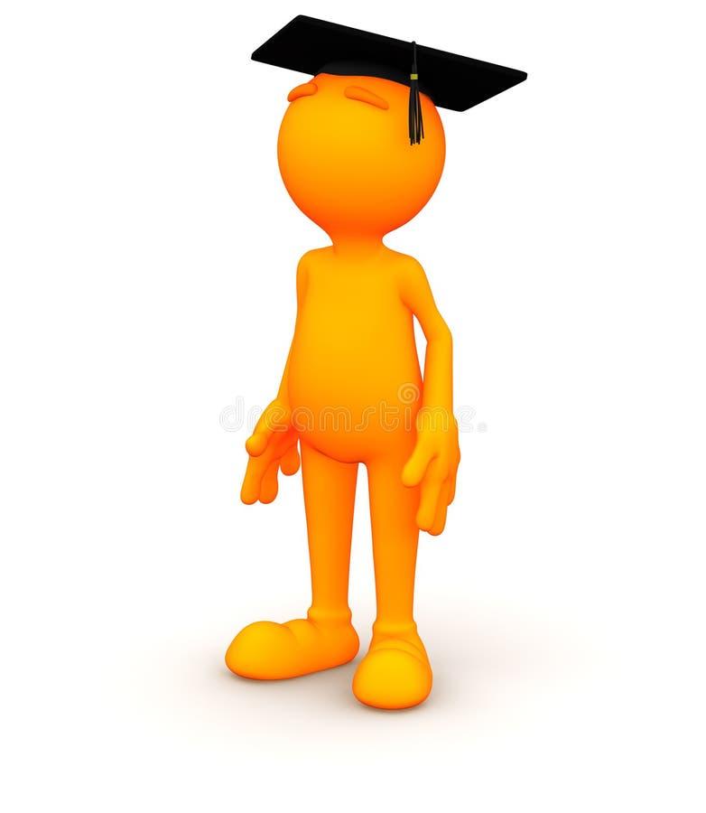 3d Kerel: Het wachten een diploma te behalen royalty-vrije illustratie