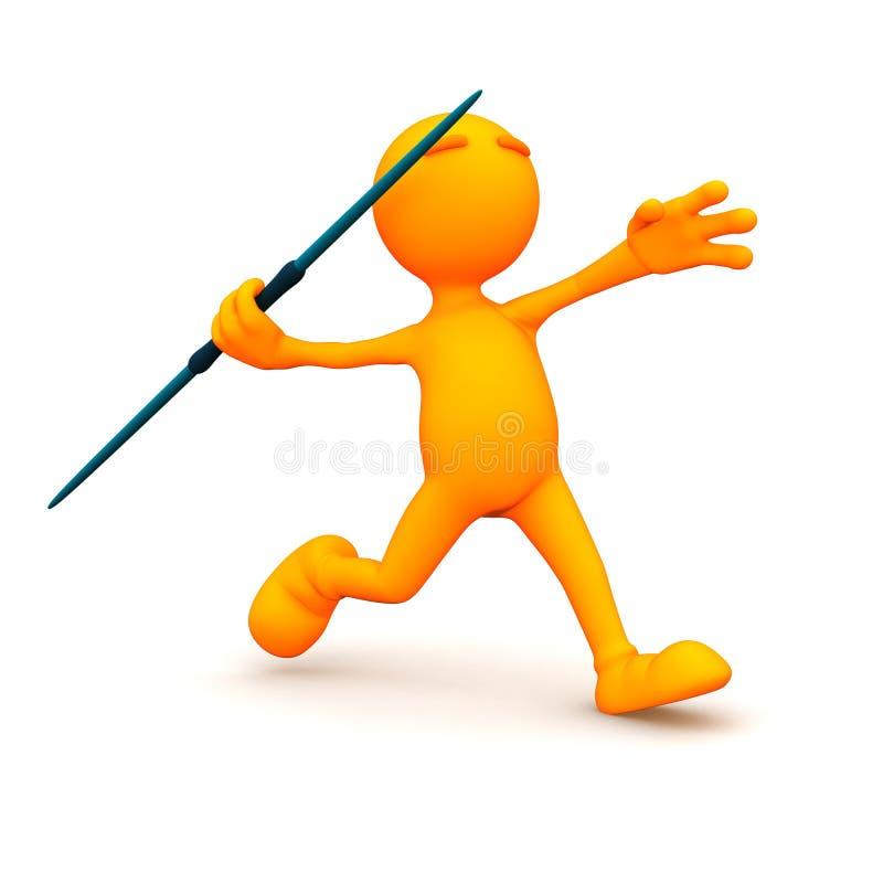3d Kerel: Het werpen van een Speer stock illustratie