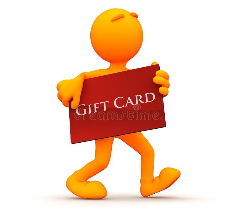 3d Kerel: Het winkelen met een Giftkaart royalty-vrije illustratie
