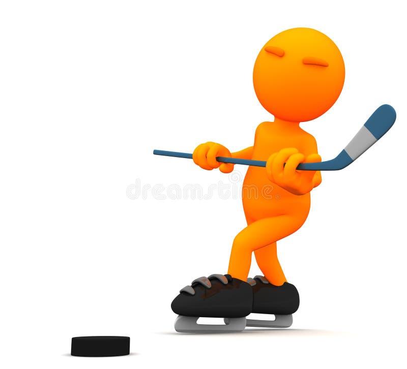 3d Kerel: Hockeyspeler royalty-vrije illustratie