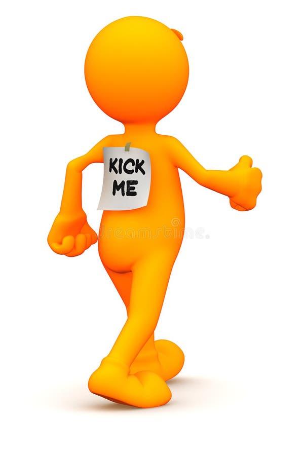 3d Kerel: Kent over Schop me niet Teken stock illustratie
