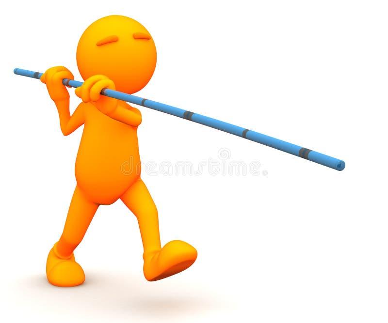 3d Kerel: Klaar aan Polsstokspringen stock illustratie
