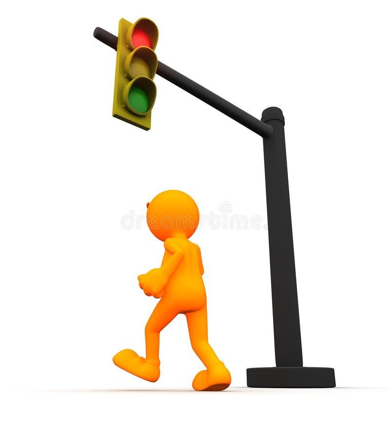 3d Kerel: Mens die het Rode licht in werking stellen stock illustratie