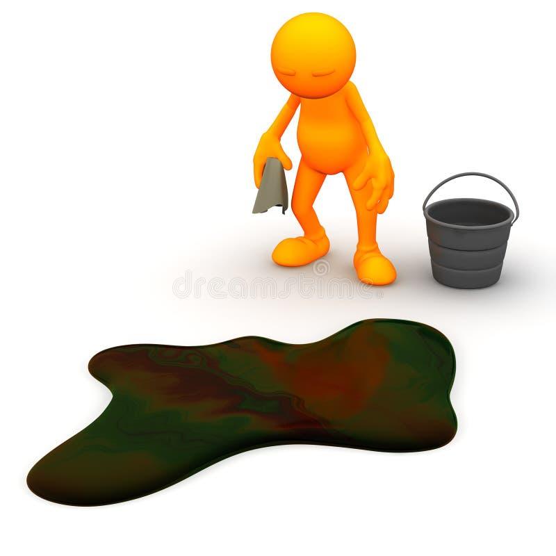 3d Kerel: Moet Oliemorserij schoonmaken vector illustratie